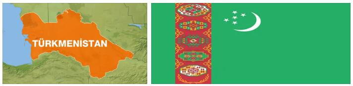 Turkmenistan Flag and Map