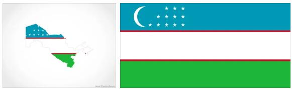 Uzbekistan Flag and Map