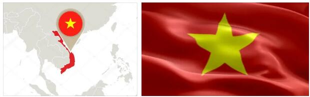 Vietnam Flag and Map